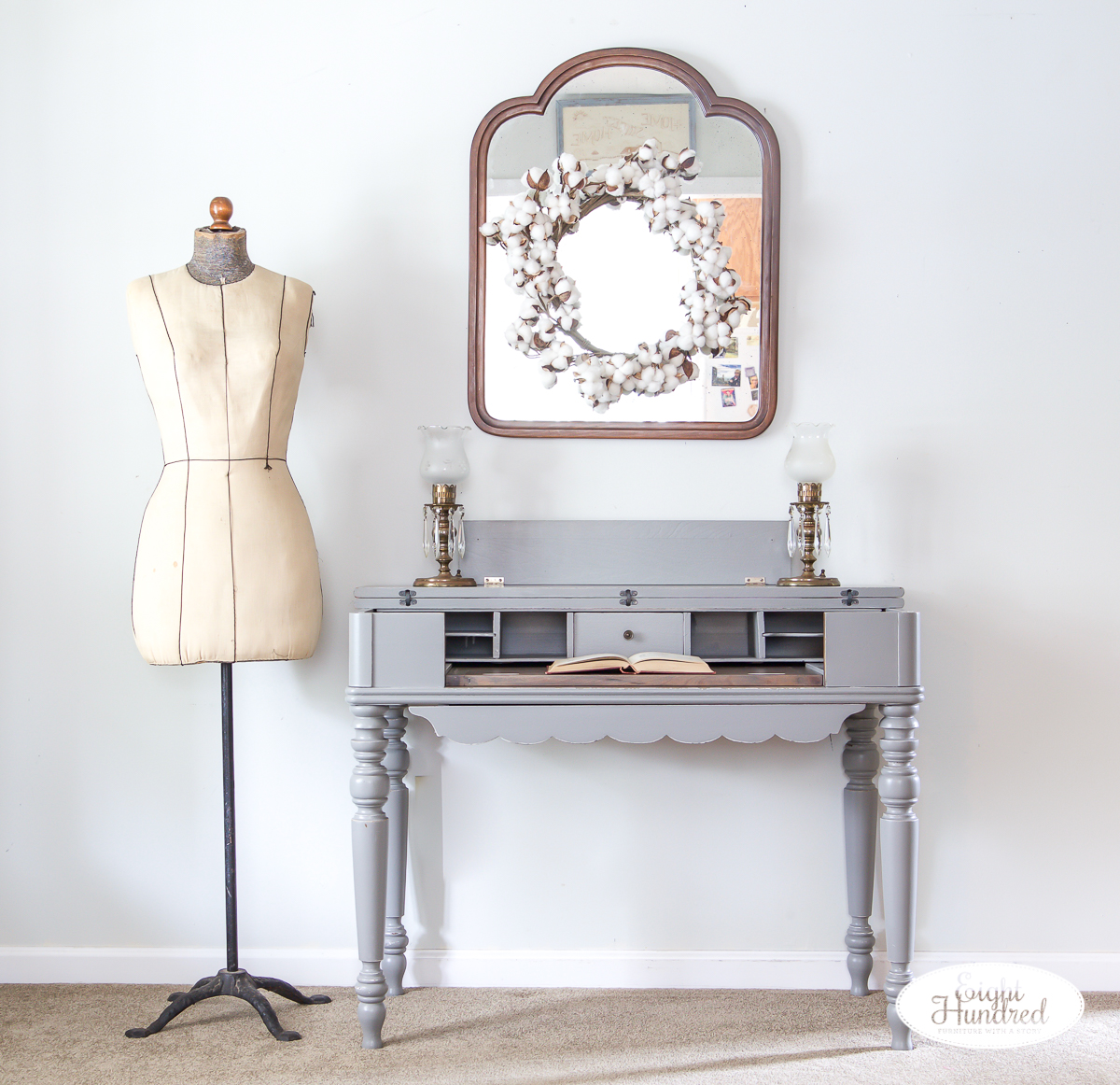 Spinet desk in perfect gray milk paint by general finishes