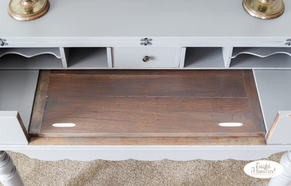 Pull out writing surface in Graystone Water Based Wood Stain on Spinet Desk