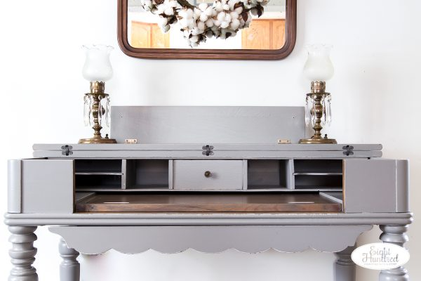 Interior of Perfect Gray Spinet Desk