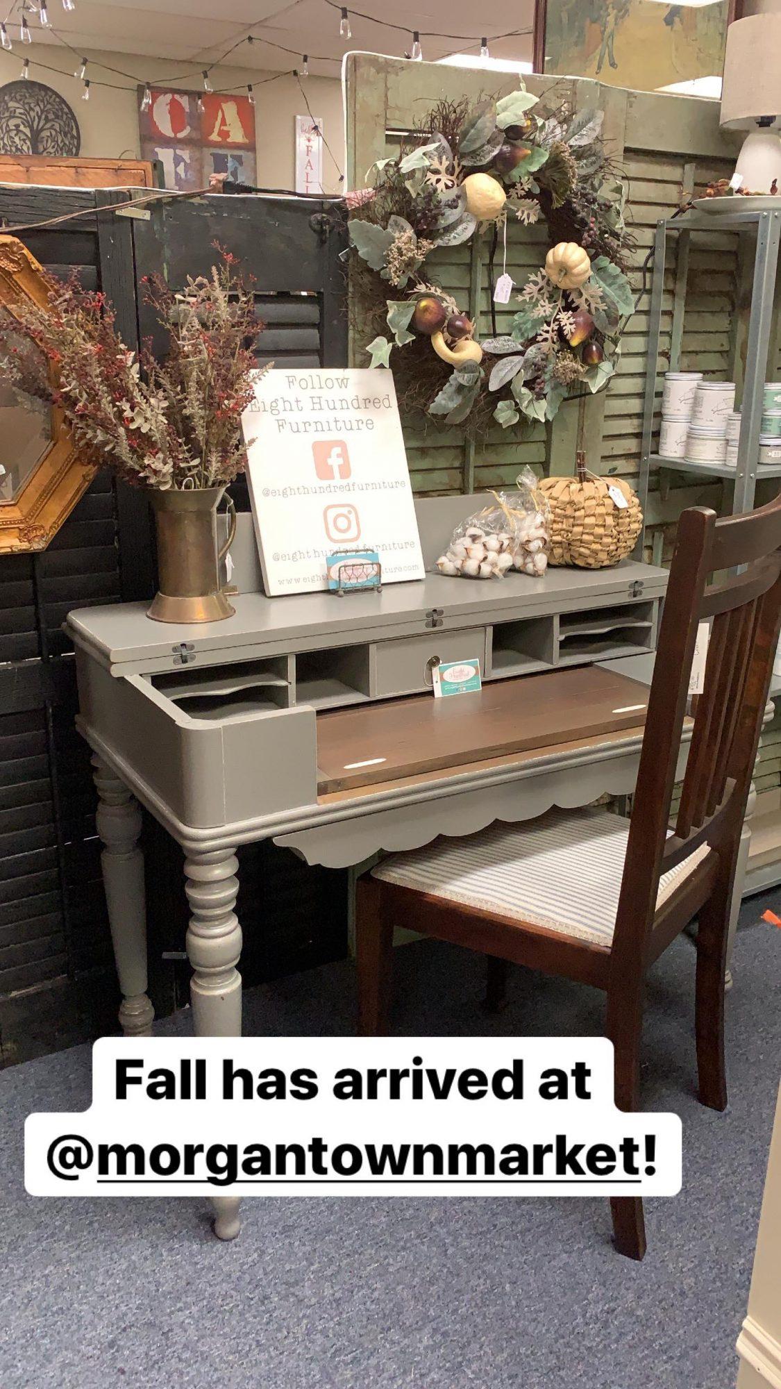 Perfect Gray Spinet Desk at Morgantown Market
