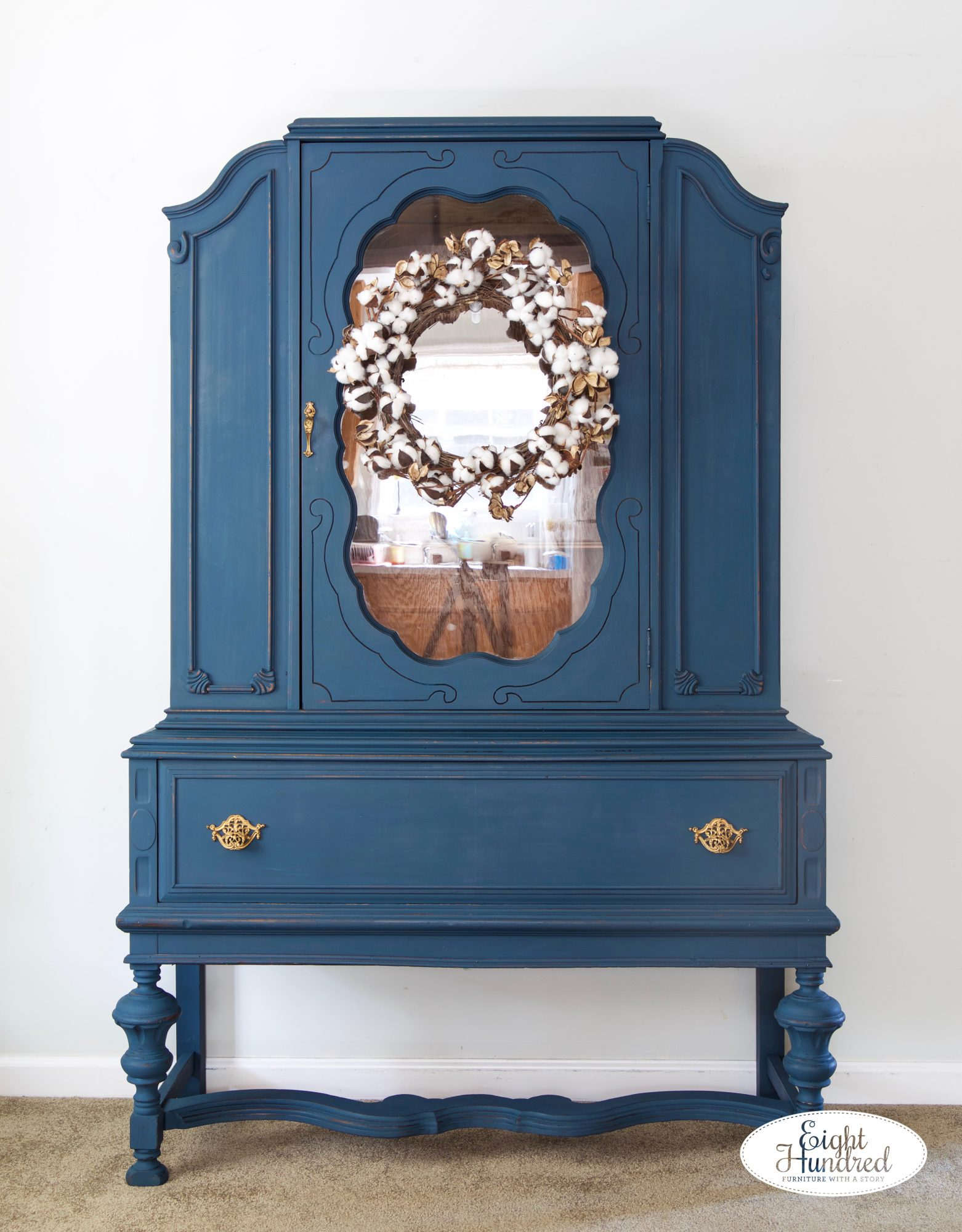 Front view of china cabinet painted in mix of Flow Blue and Artissimo MMS Milk Paint by Jenn Baker of Eight Hundred Furniture