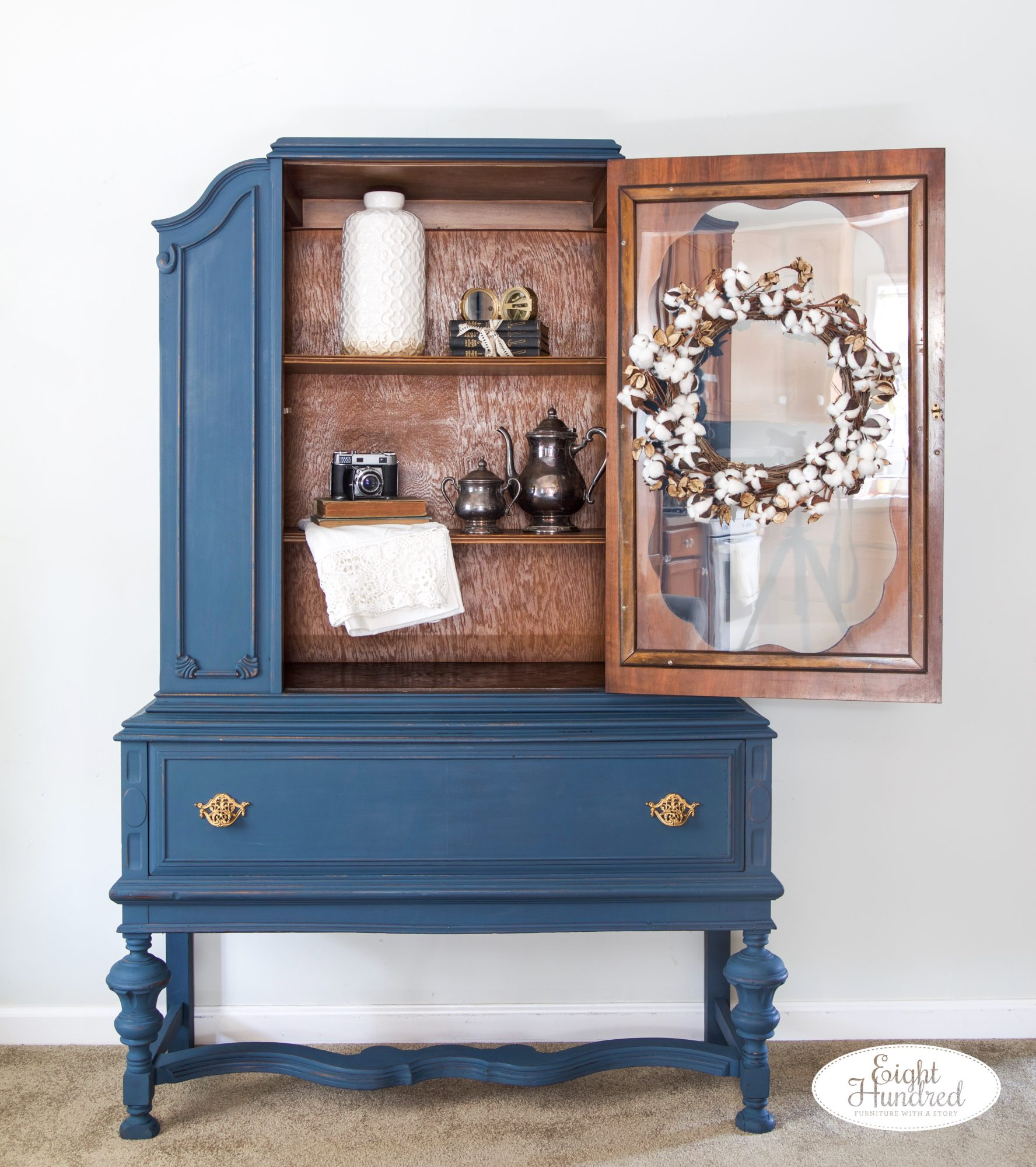 Full length shot of vintage china cabinet painted in Flow Blue and Artissimo by Miss Mustard Seed's Milk Paint