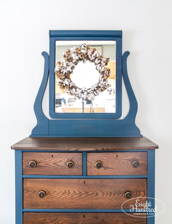Top of oak dresser stained in provincial water based wood stain and painted in flow blue and artissimo by miss mustard seed's milk paint
