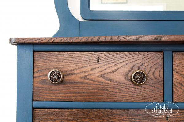 Drawer on oak dresser stained in Provincial Water Based Wood Stain and sealed with High Performance Flat by General Finishes