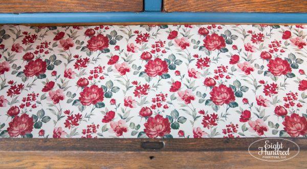 Rose paper lining drawers of oak dresser