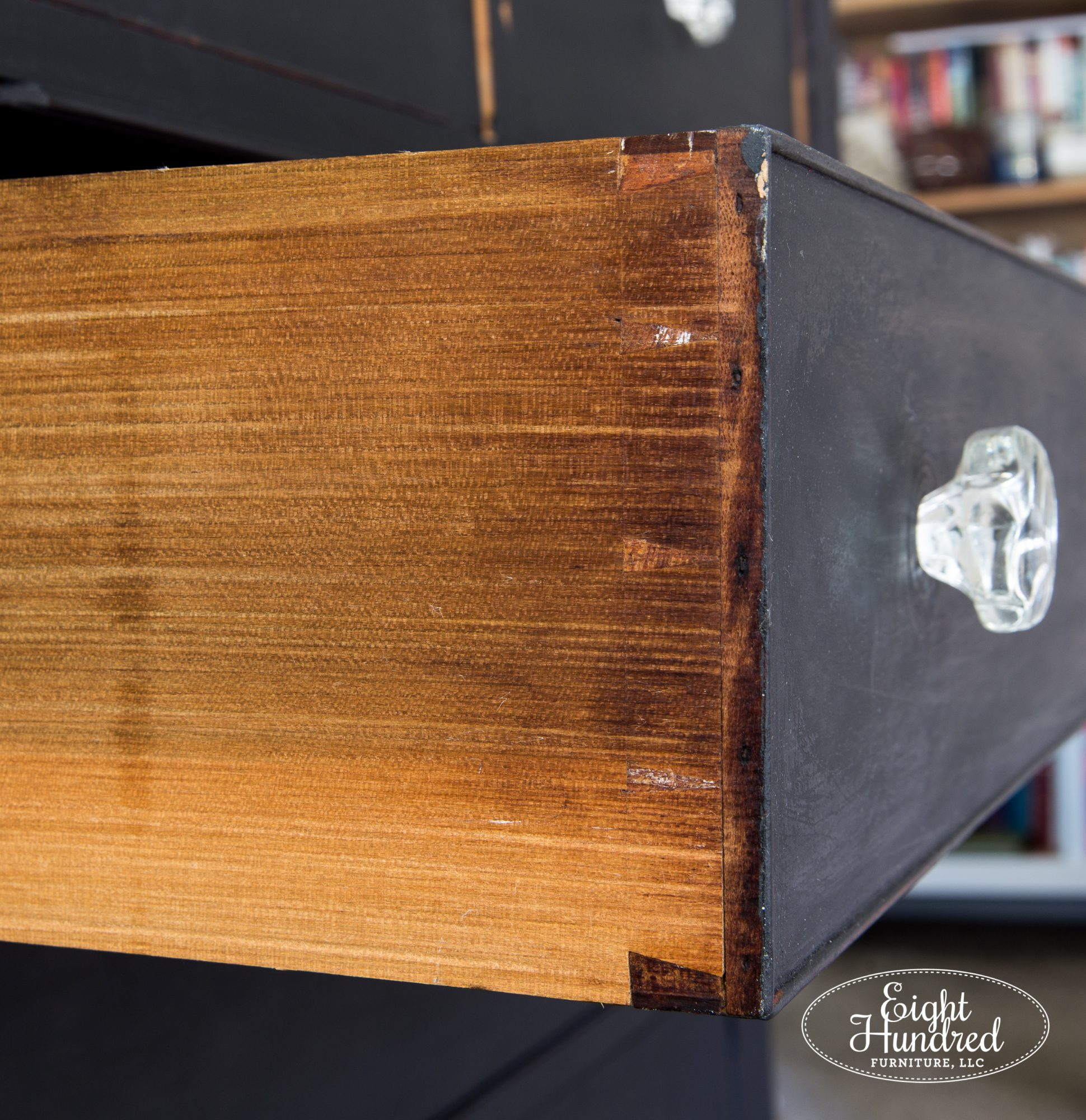 Hand cut dovetailed joints on Empire Dresser by Eight Hundred Furniture