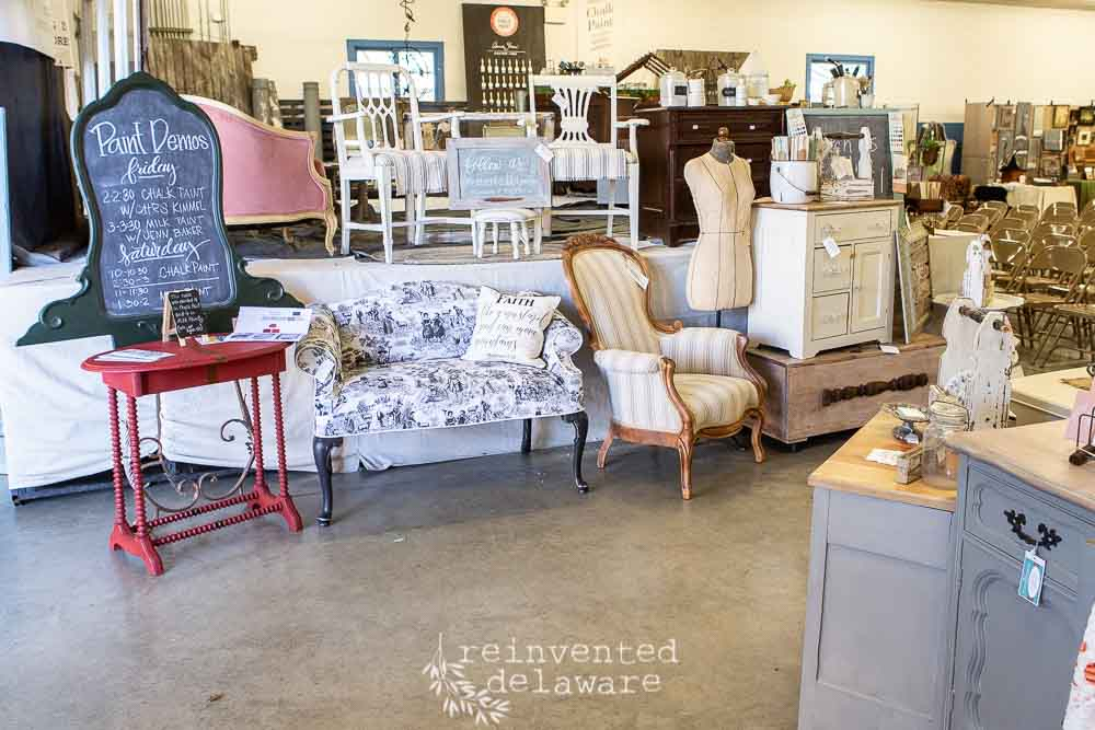 Upholstery, Washstand, Milk Paint, Chalk Paint, Toile, Witches Fly North Antique and Artisan Show 2019, Miss Morgan's Milkweed Antiques, Eight Hundred Furniture, Jenn Baker, Cindy Rust, Reinvented Delaware, Miss Mustard Seed's Milk Paint, Lebanon Pennsylvania, Lebanon Expo Center