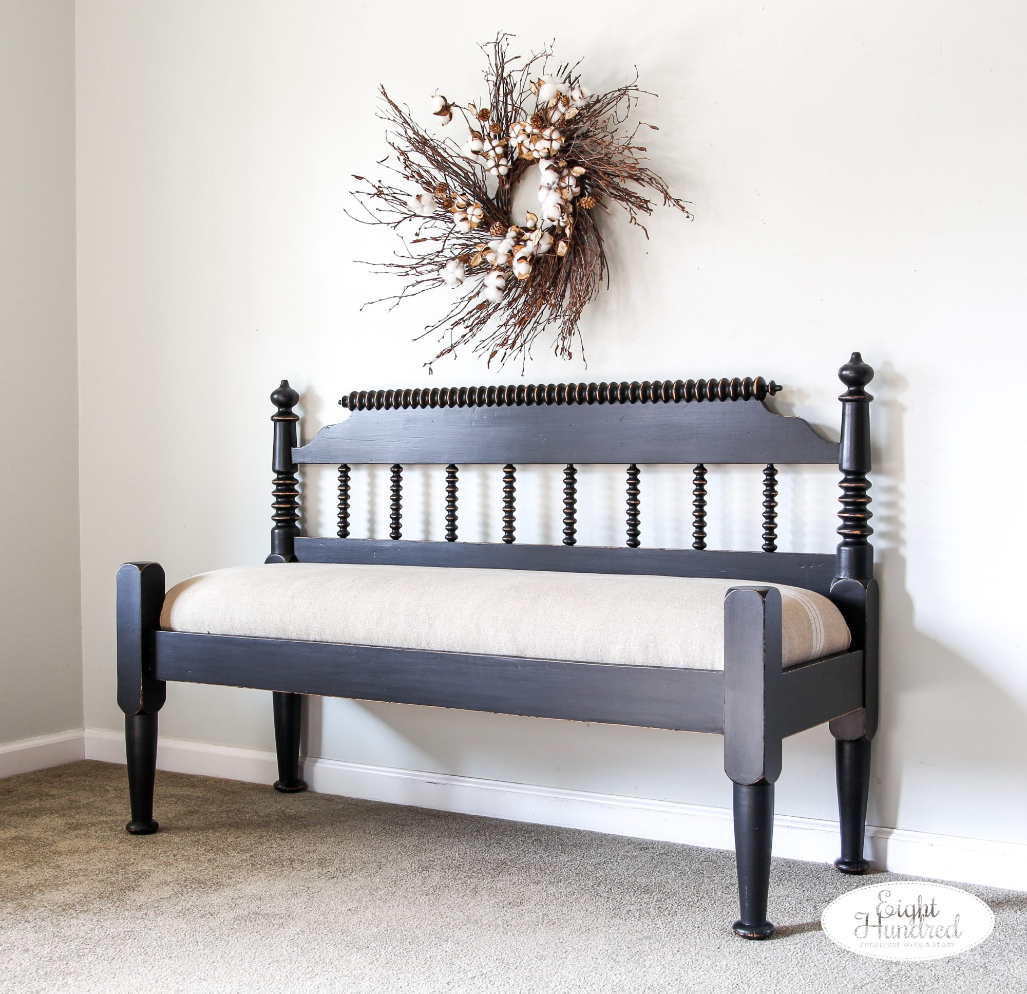 Lamp Black Spool Bench, General Finishes Milk Paint, High Performance Topcoat, Lamp Black Milk Paint, Milk Paint, Eight Hundred Furniture, Sweet Annie Acres