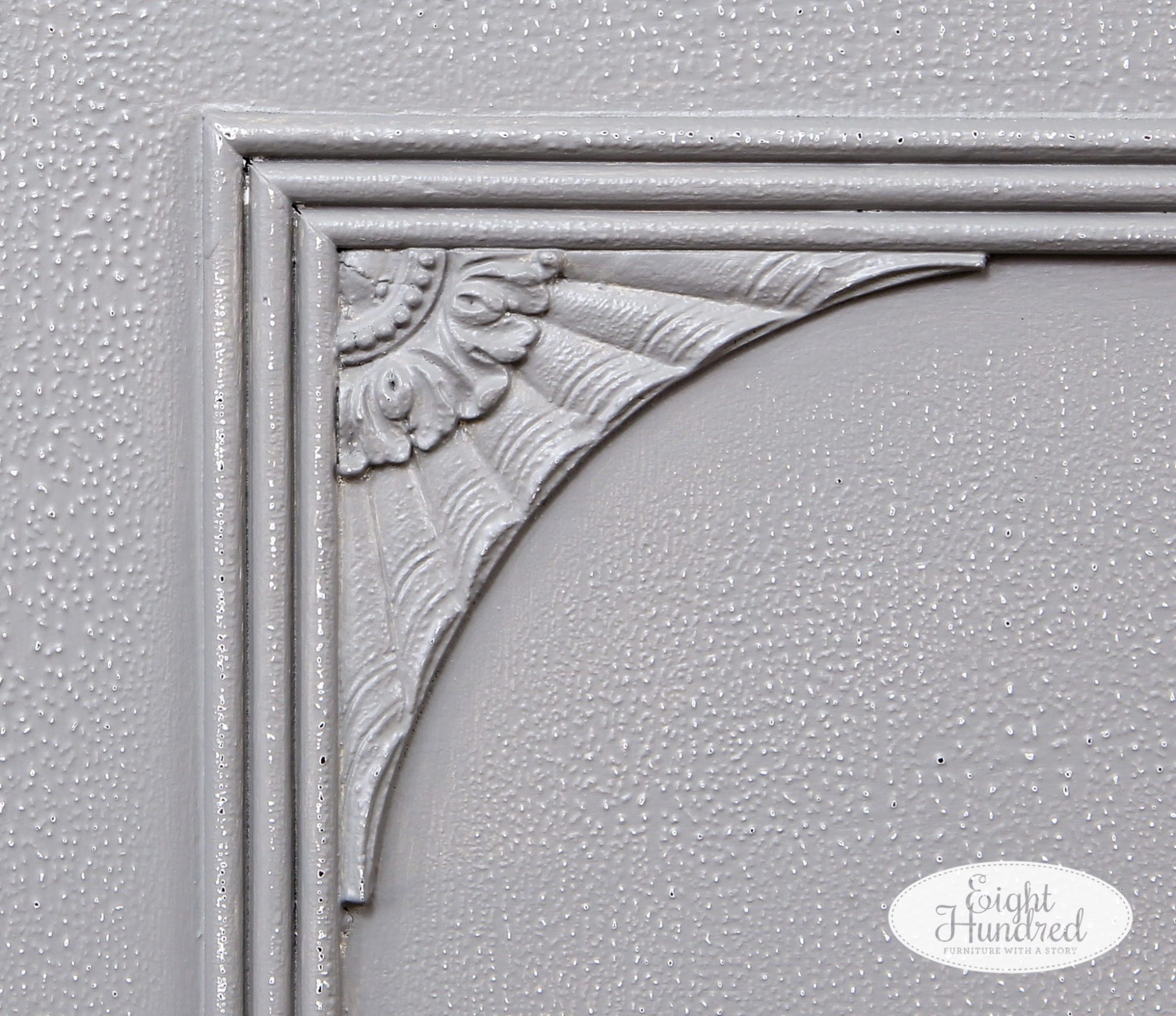 Fan wood overlay detail on vintage cedar chest painted in General Finishes Perfect Gray Milk Paint