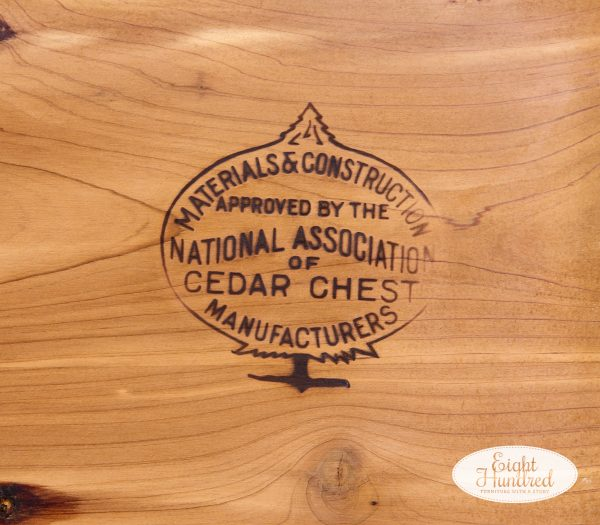 """Stamp inside the lid of vintage cedar chest that reads """"materials & construction approved by the national association of cedar chest manufacturers"""""""
