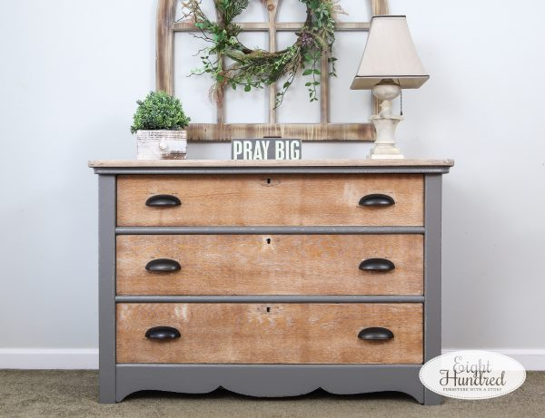 3 drawer oak dresser with Perfect Gray Milk Paint by General Finishes on the body and White Wax by Miss Mustard Seed's Milk Paint on the drawers
