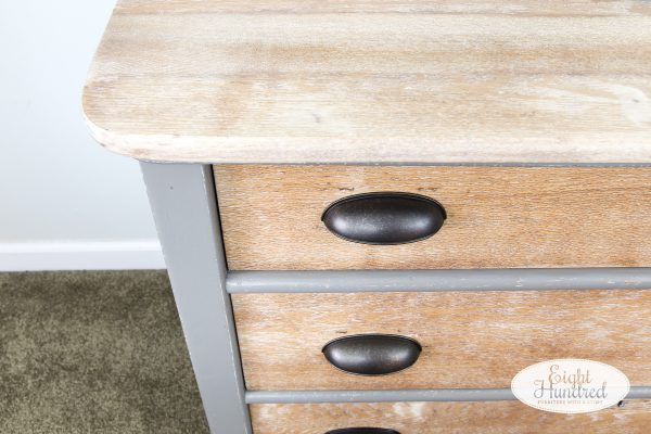 Top of oak dresser with whitewashed drawers painted in Perfect Gray by General Finishes Milk Paint