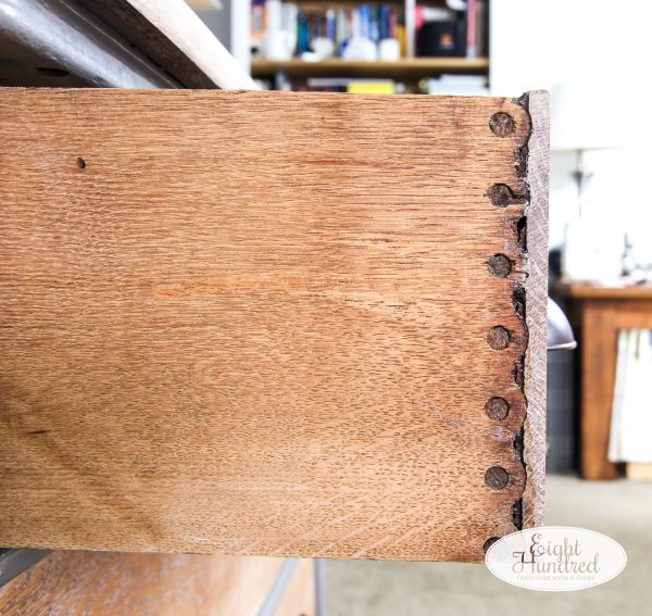 Cove and pin joinery on drawers of oak dresser