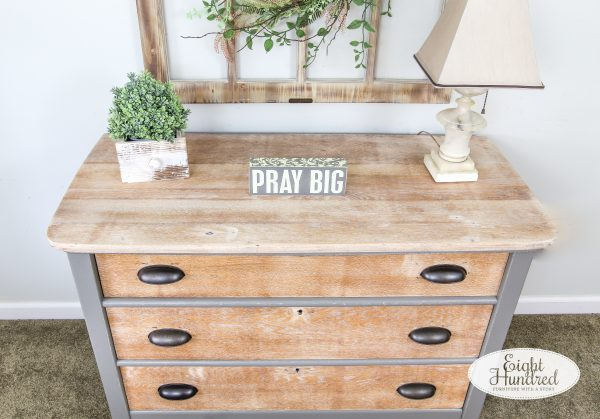 Top of oak dresser with 3 drawers whitewashed with White Wax by Miss Mustard Seed