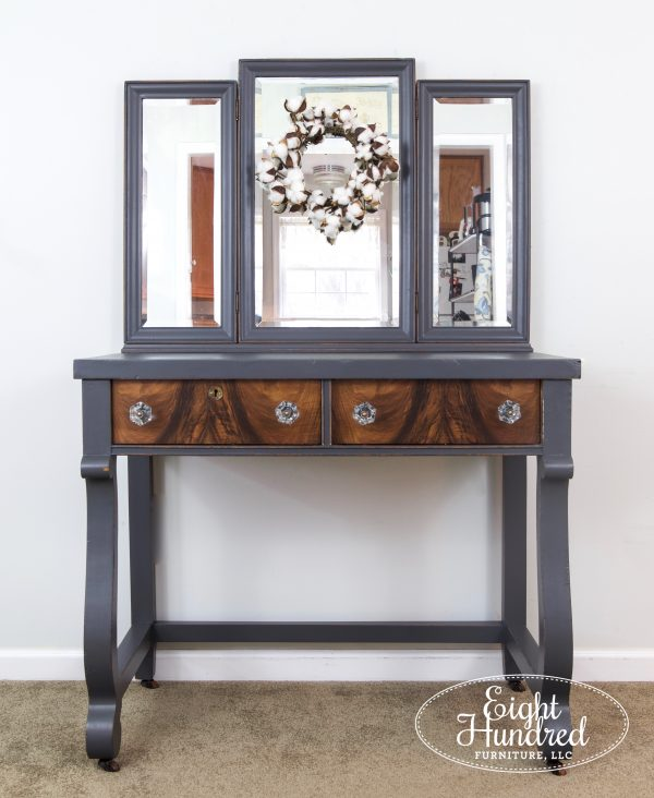 Front view of makeup vanity painted in General Finishes Queenstown Gray Milk Paint