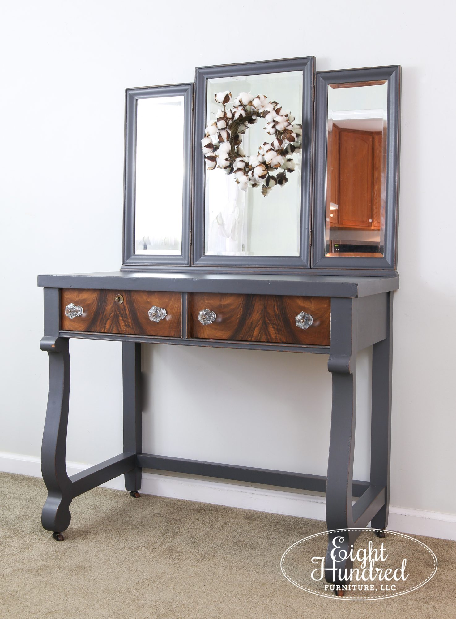 Side view of empire style makeup vanity painted in Queenstown Gray Milk Paint by General Finishes