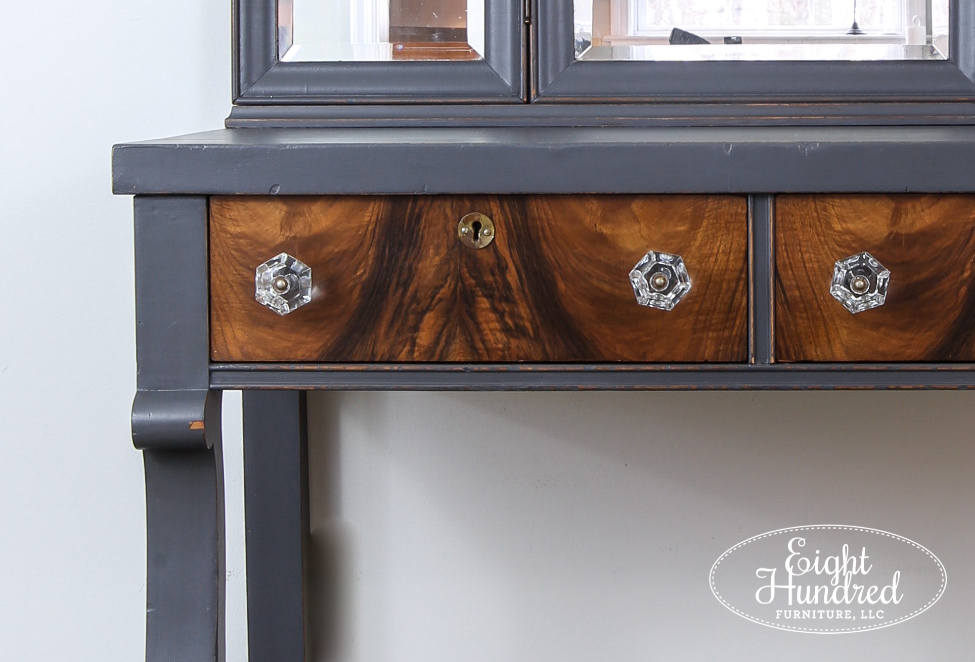 Glass knobs on wood veneer drawers sealed in Arm-R-Seal Satin by General Finishes