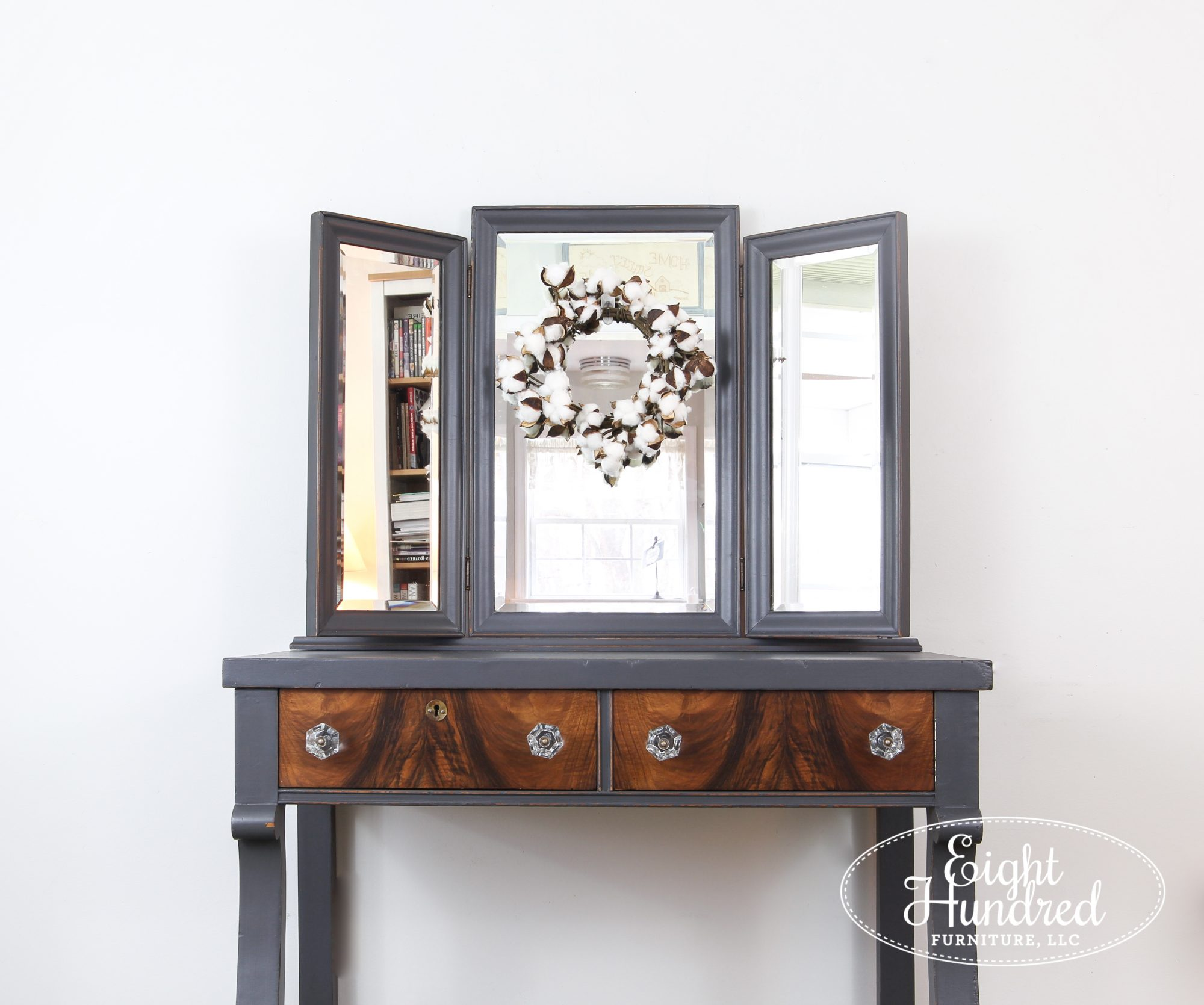 Tri fold mirror on empire style makeup vanity painted in Queenstown Gray Milk Paint by General Finishes