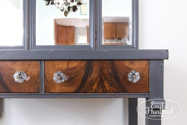 Beautiful butterflied wood veneer drawers sealed in General Finishes Arm-R-Seal Satin on empire style makeup vanity