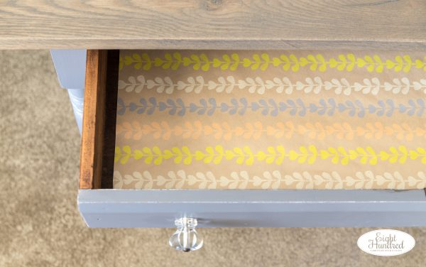 Lined drawer inside antique table painted in Driftwood Milk Paint
