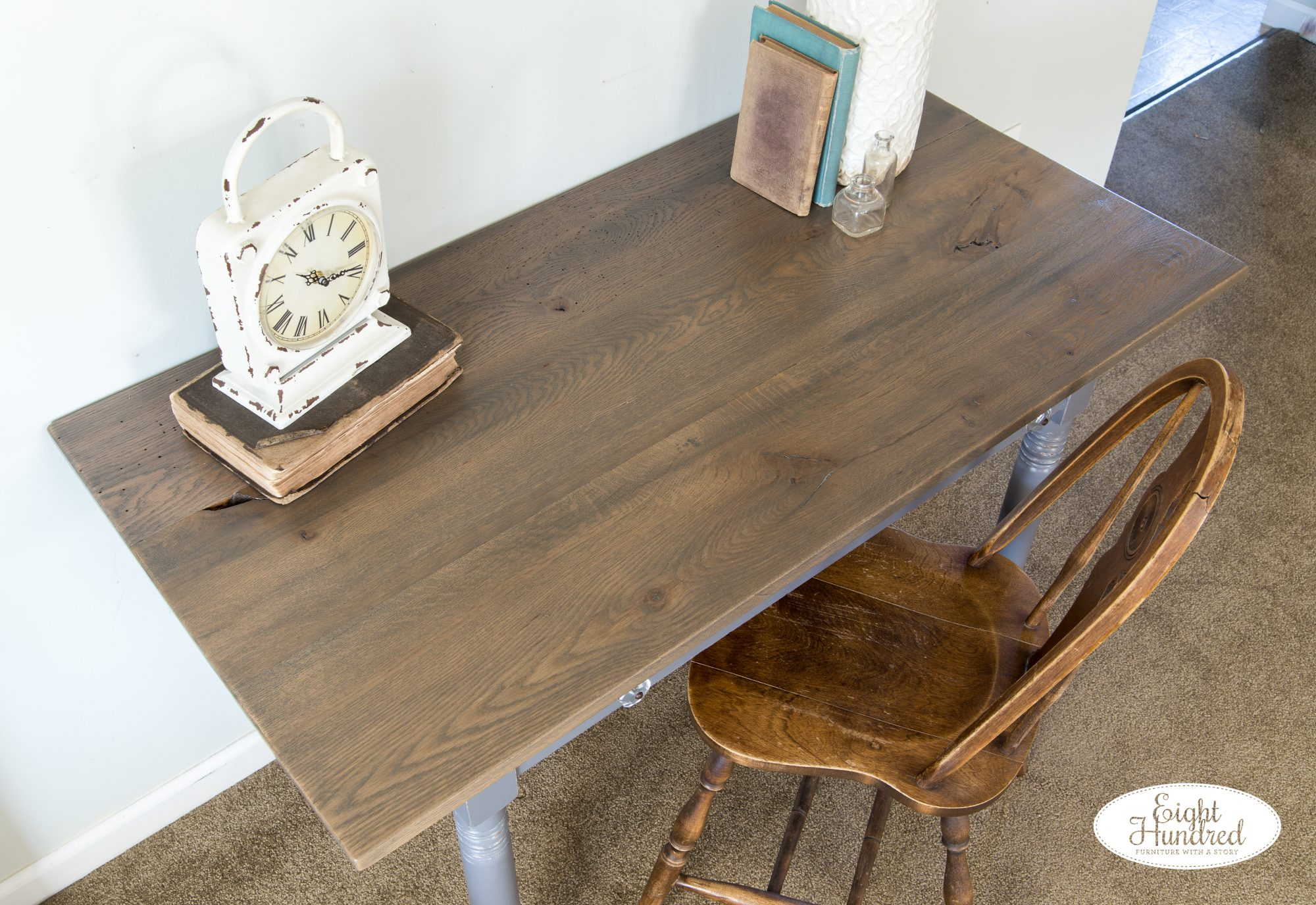 Graystone Water Based Wood Stain on reclaimed oak top of antique table in Driftwood Milk Paint
