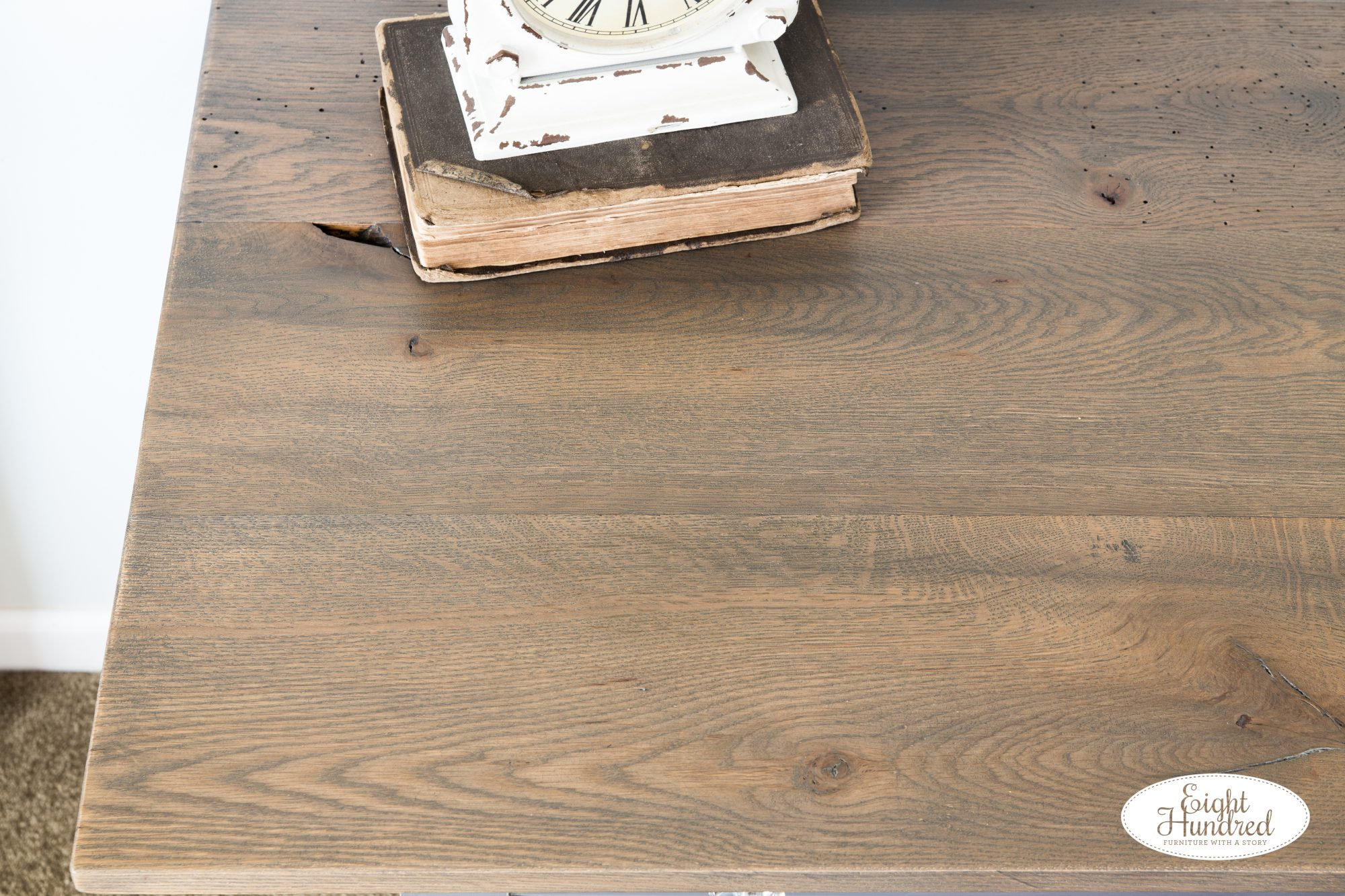 Graystone Water Based Wood Stain on reclaimed oak top of antique table