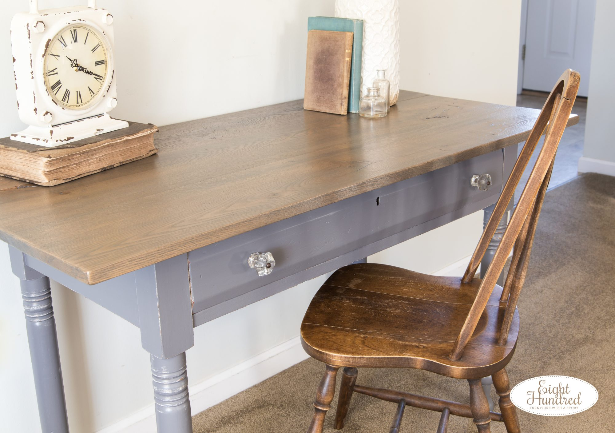 Antique table painted in Driftwood Milk Paint by General Finishes with a Reclaimed Oak Top stained in Graystone Water Based Wood Stain