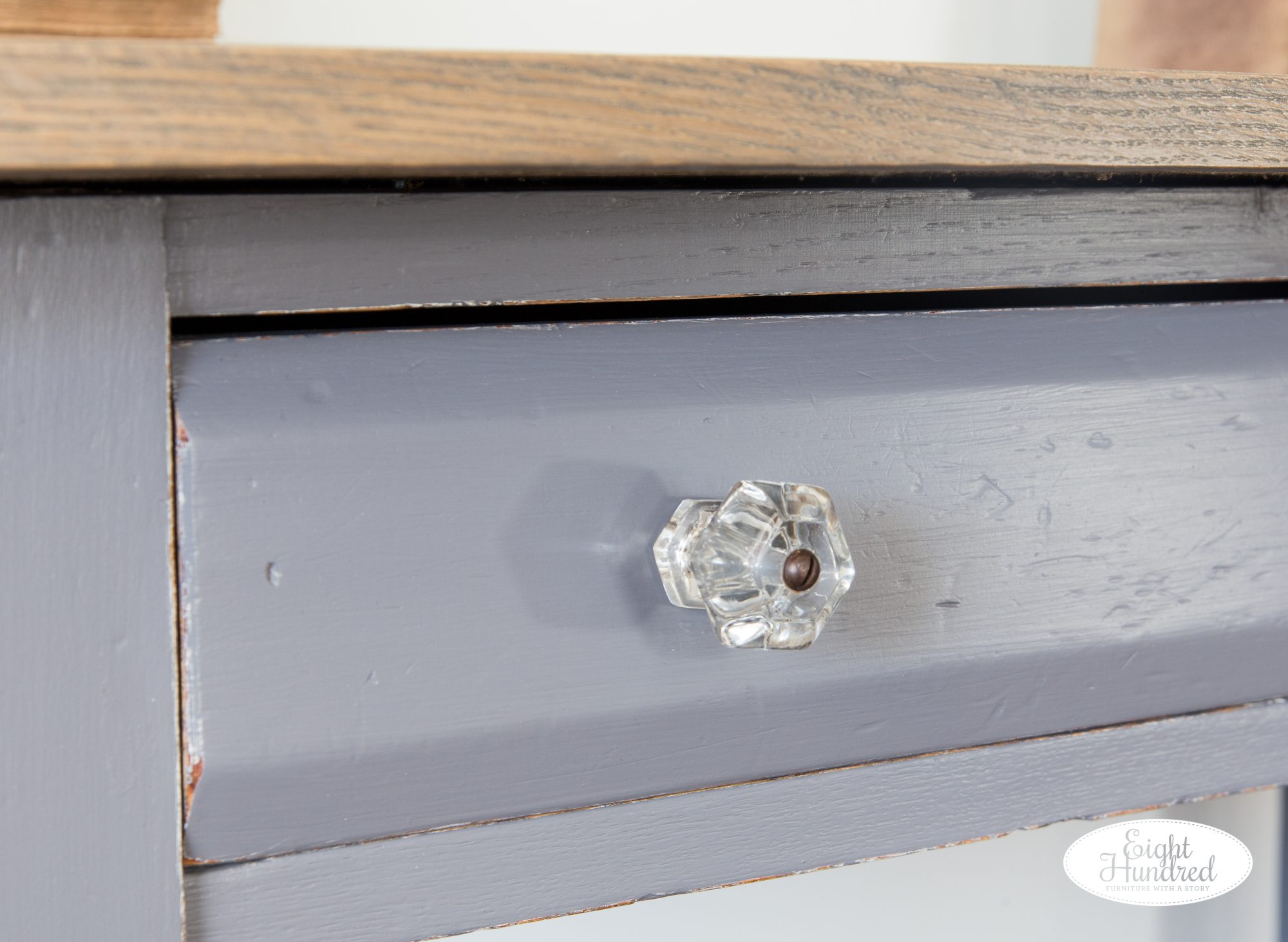 Antique glass knob on drawer of antique table painted in Driftwood Milk Paint