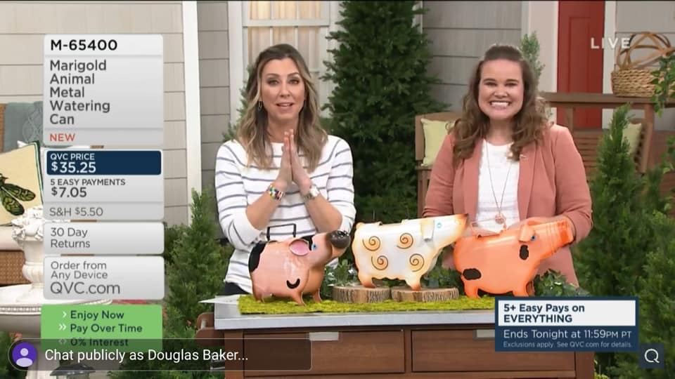 Jenn presenting Watering Cans on QVC