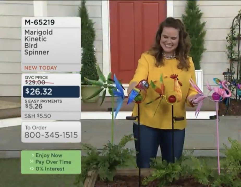 Jenn presenting kinetic bird spinner on qvc