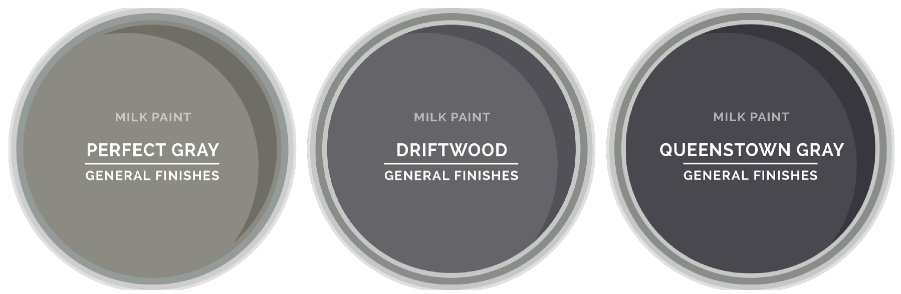 Comparison of Driftwood, Perfect Gray and Queenstown by General Finishes Milk Paint