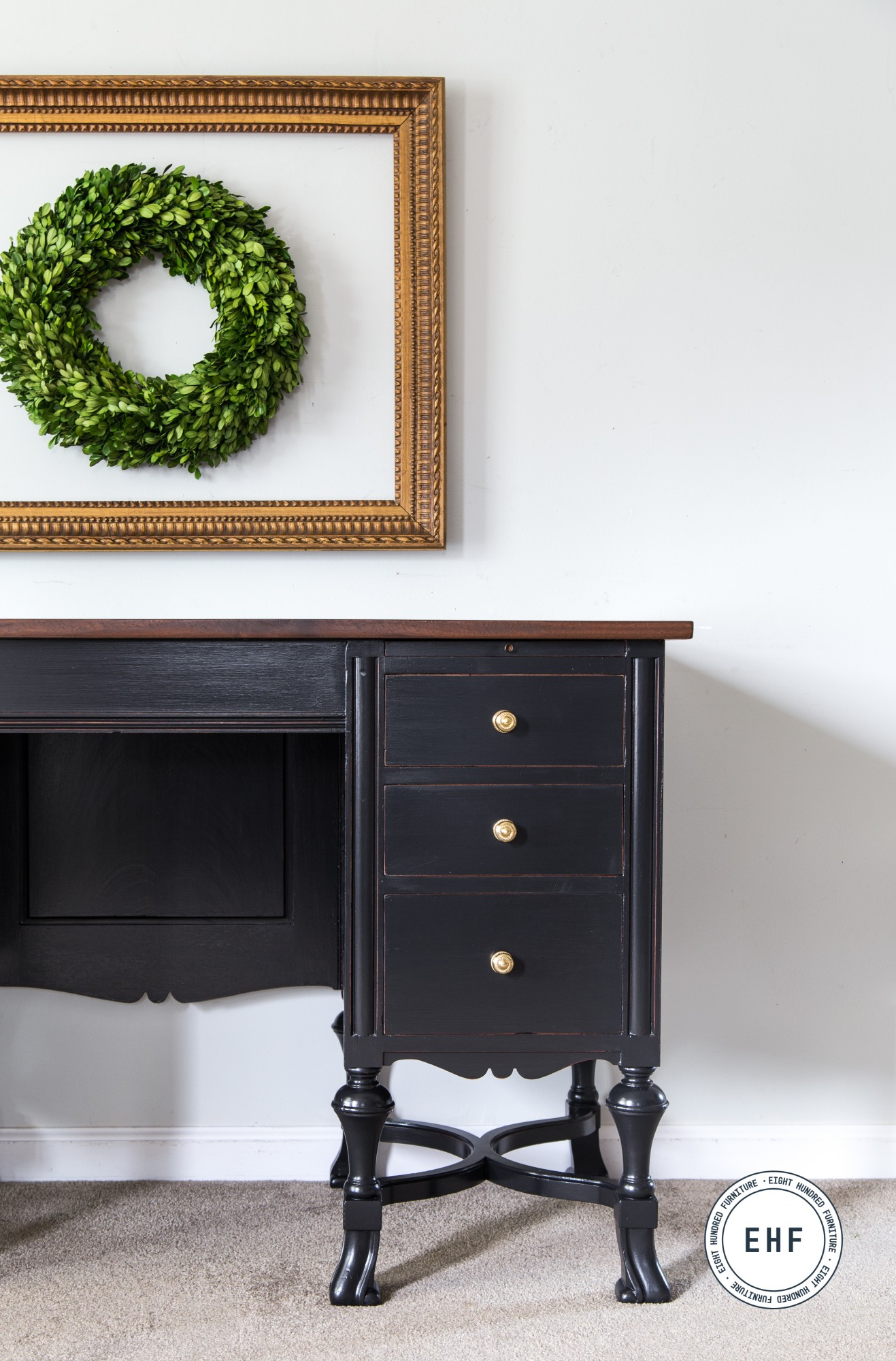 Antique typewriter desk in General Finishes Lamp Black Milk Paint with Arm-R-Seal on top
