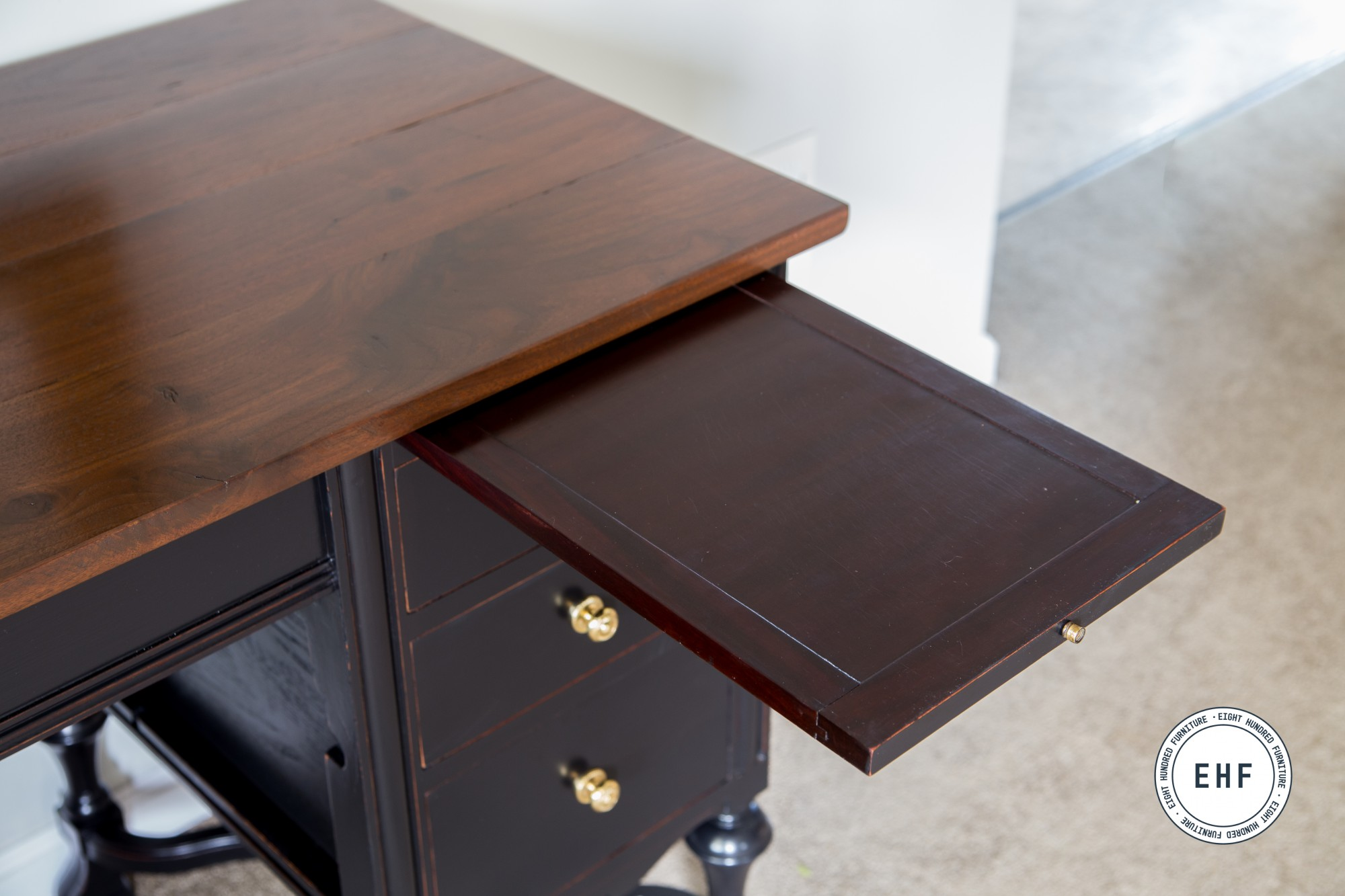 Mahogany pull out writing surface on typewriter desk