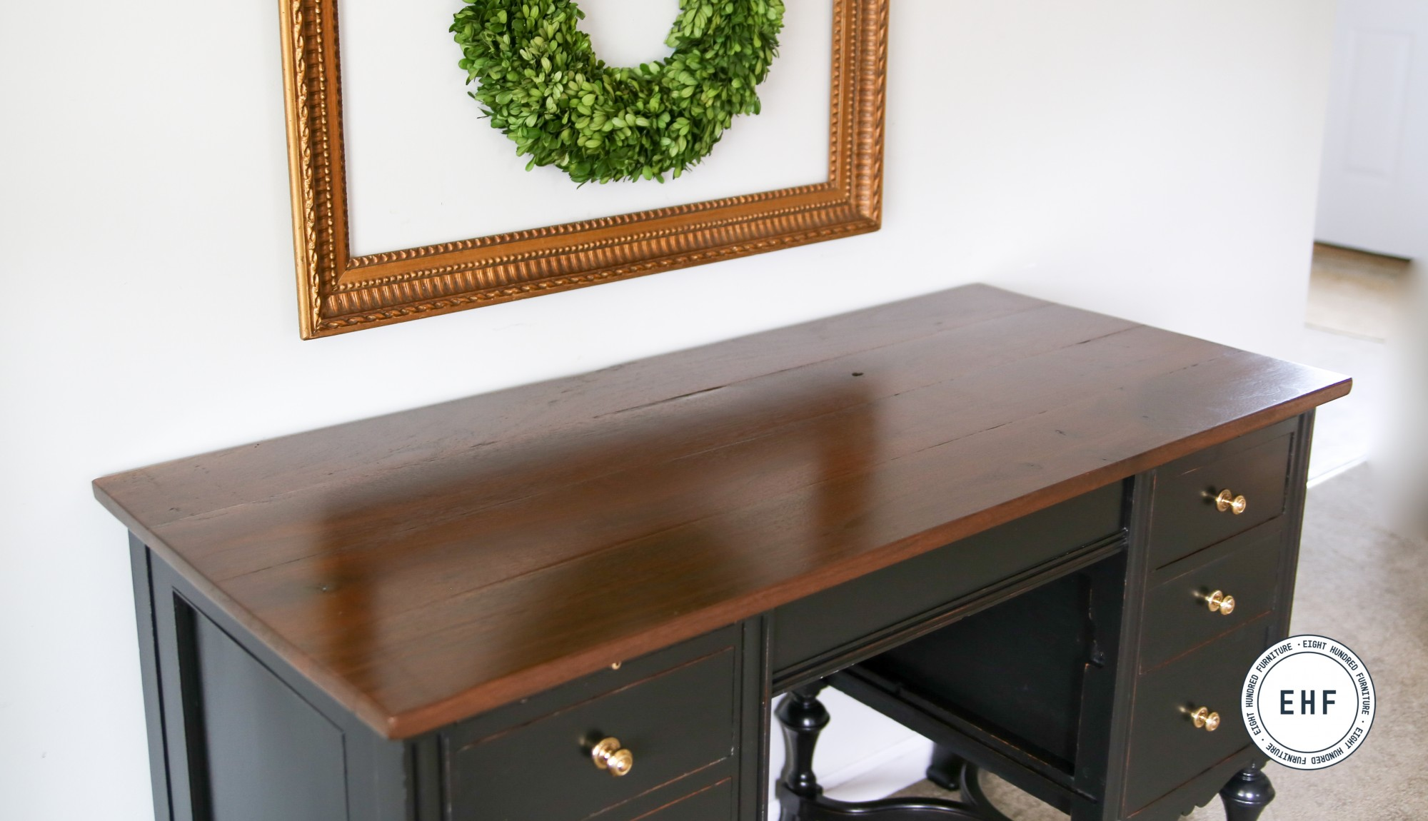 Walnut top of typewriter desk sealed in Arm R Seal Semi Gloss by General Finishes