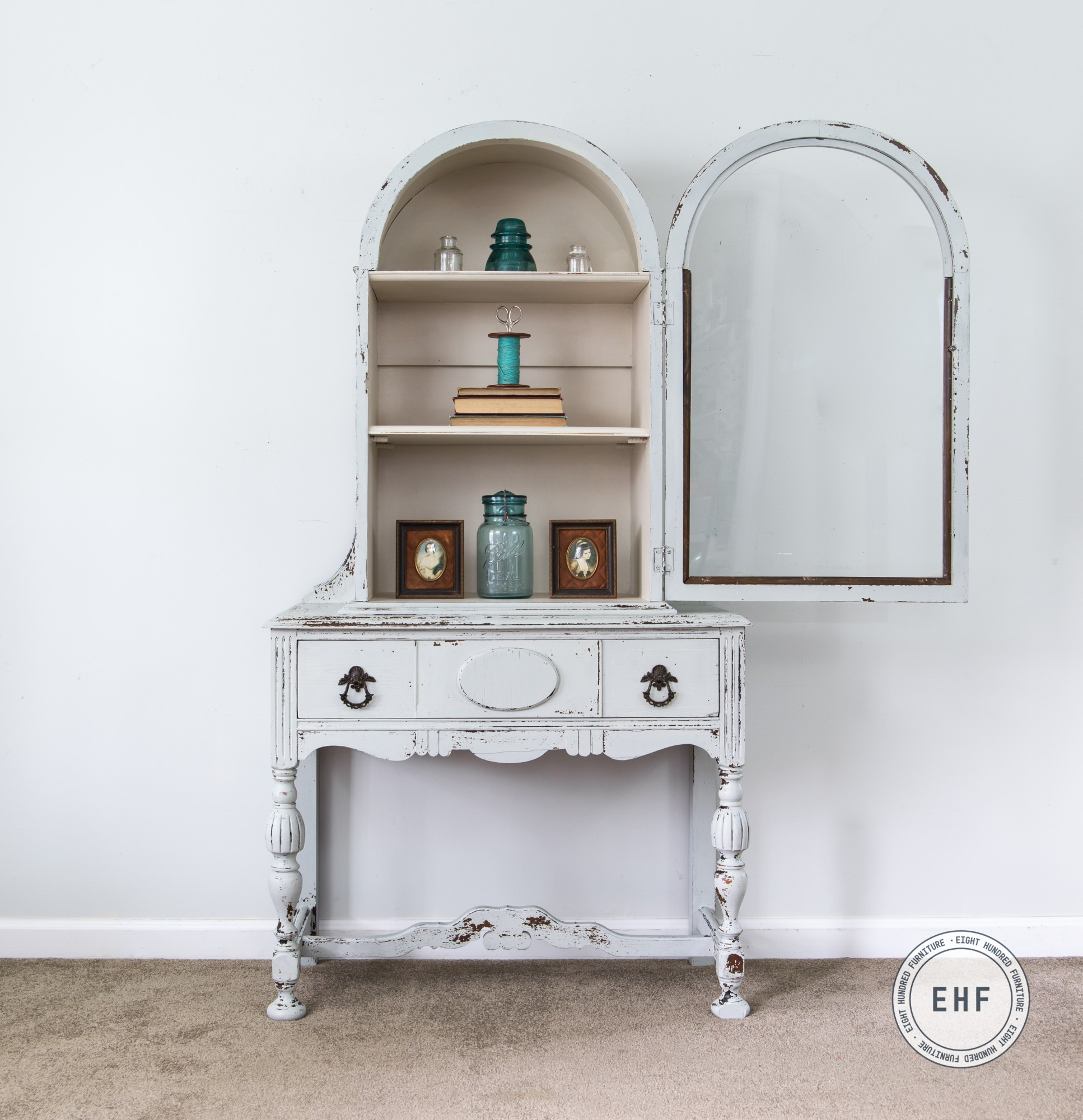 Vintage China Cabinet painted in Mora and Marzipan by Miss Mustard Seed's Milk Paint