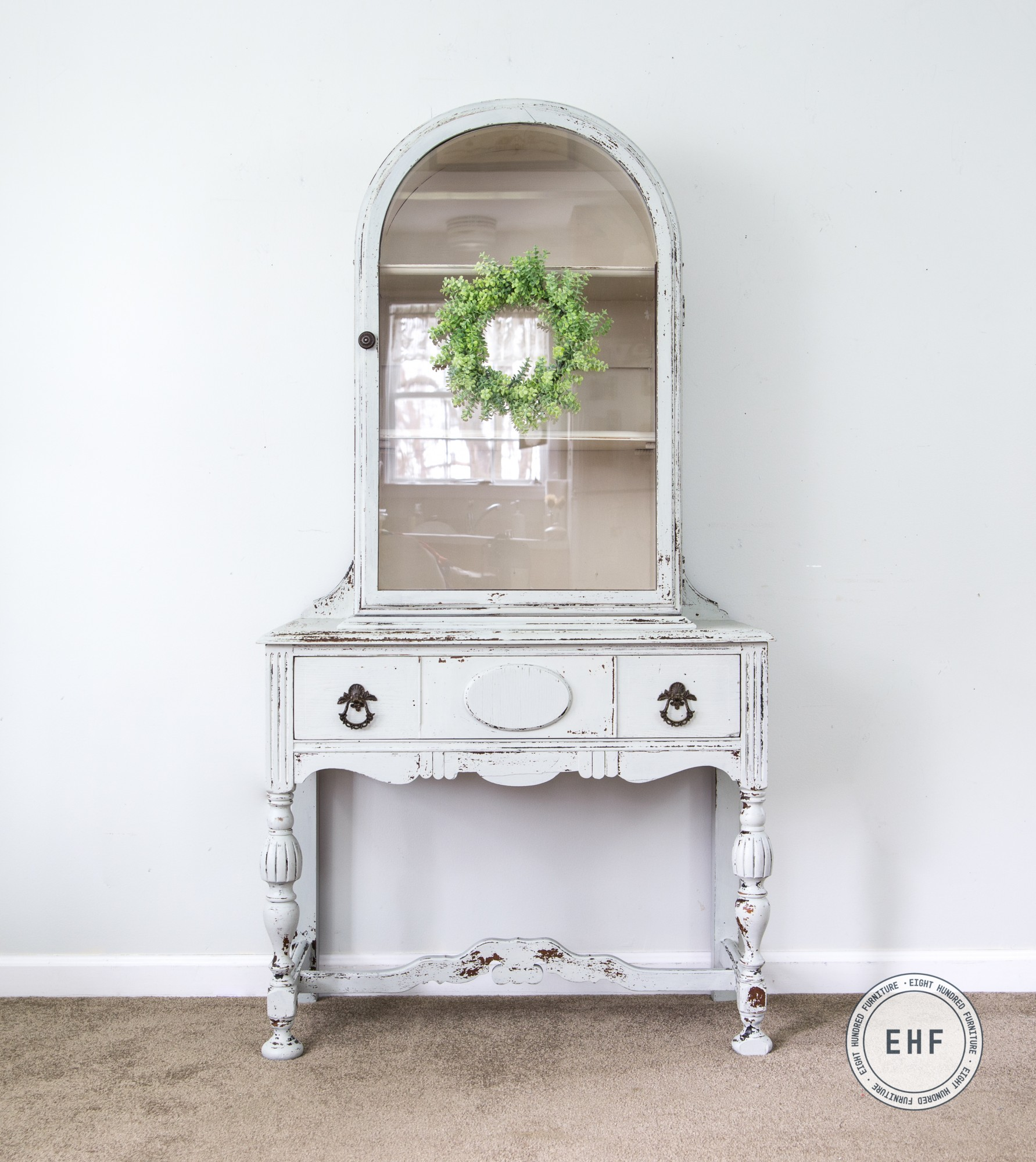 Chippy Vintage China Cabinet painted in Mora and Marzipan by Miss Mustard Seed's Milk Paint