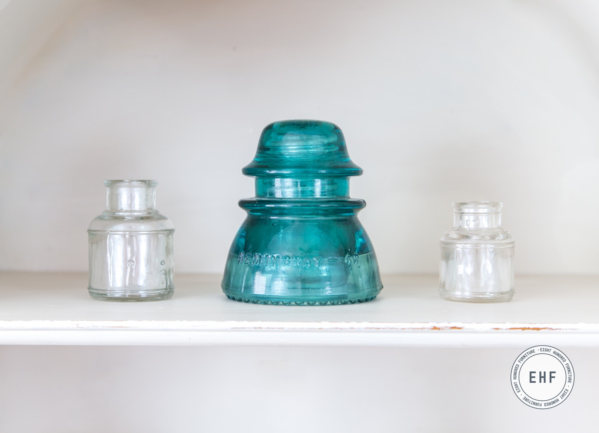 Teal glass Hemmingray Insulator with glass ink well jars