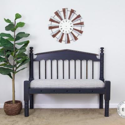 Coastal Blue Antique Spool Bench