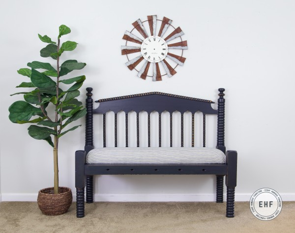 Antique Rope Bench in Coastal Blue Milk Paint by General Finishes