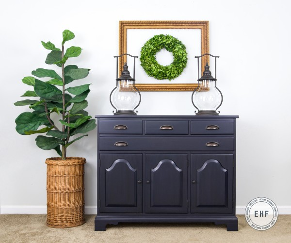 Maple Server in General Finishes Coastal Blue Milk Paint with Pitch Black Glaze Effects
