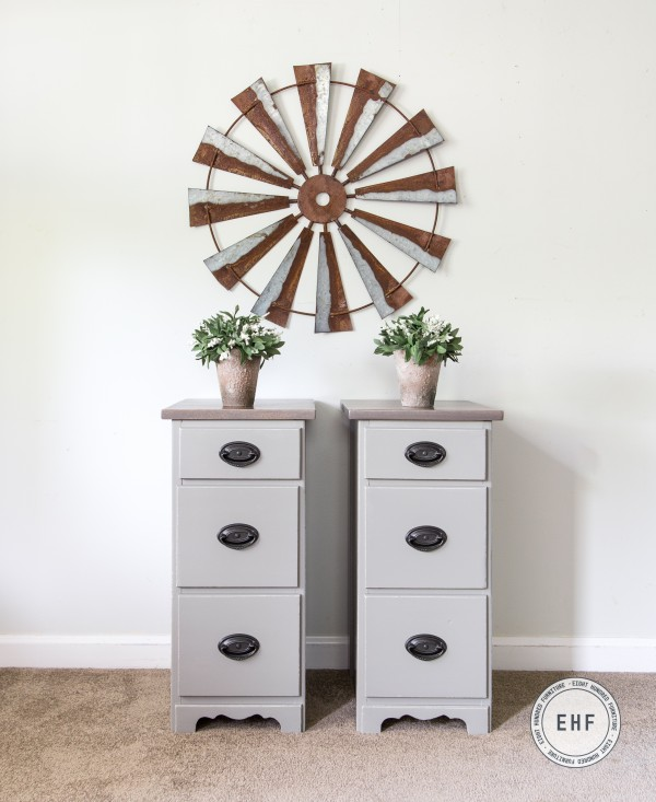 Nightstands in Empire Gray Milk Paint, Ash Gray Gel Stain, Van Dyke Brown Glaze Effects by General Finishes, Eight Hundred Furniture