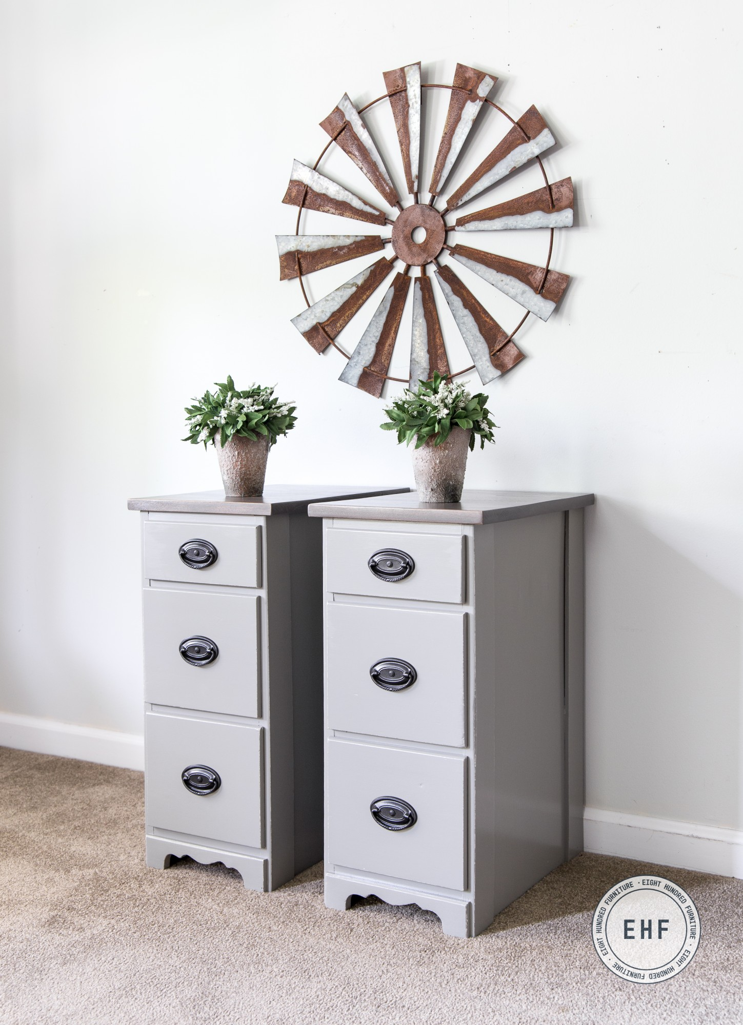 Side view of Nightstands in Empire Gray Milk Paint, Ash Gray Gel Stain, Van Dyke Brown Glaze Effects by General Finishes, Eight Hundred Furniture