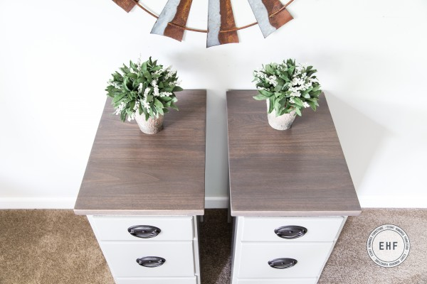 Refinished tops of nightstands using Ash Gray Gel Stain and Van Dyke Brown Glaze Effects by General Finishes, Eight Hundred Furniture