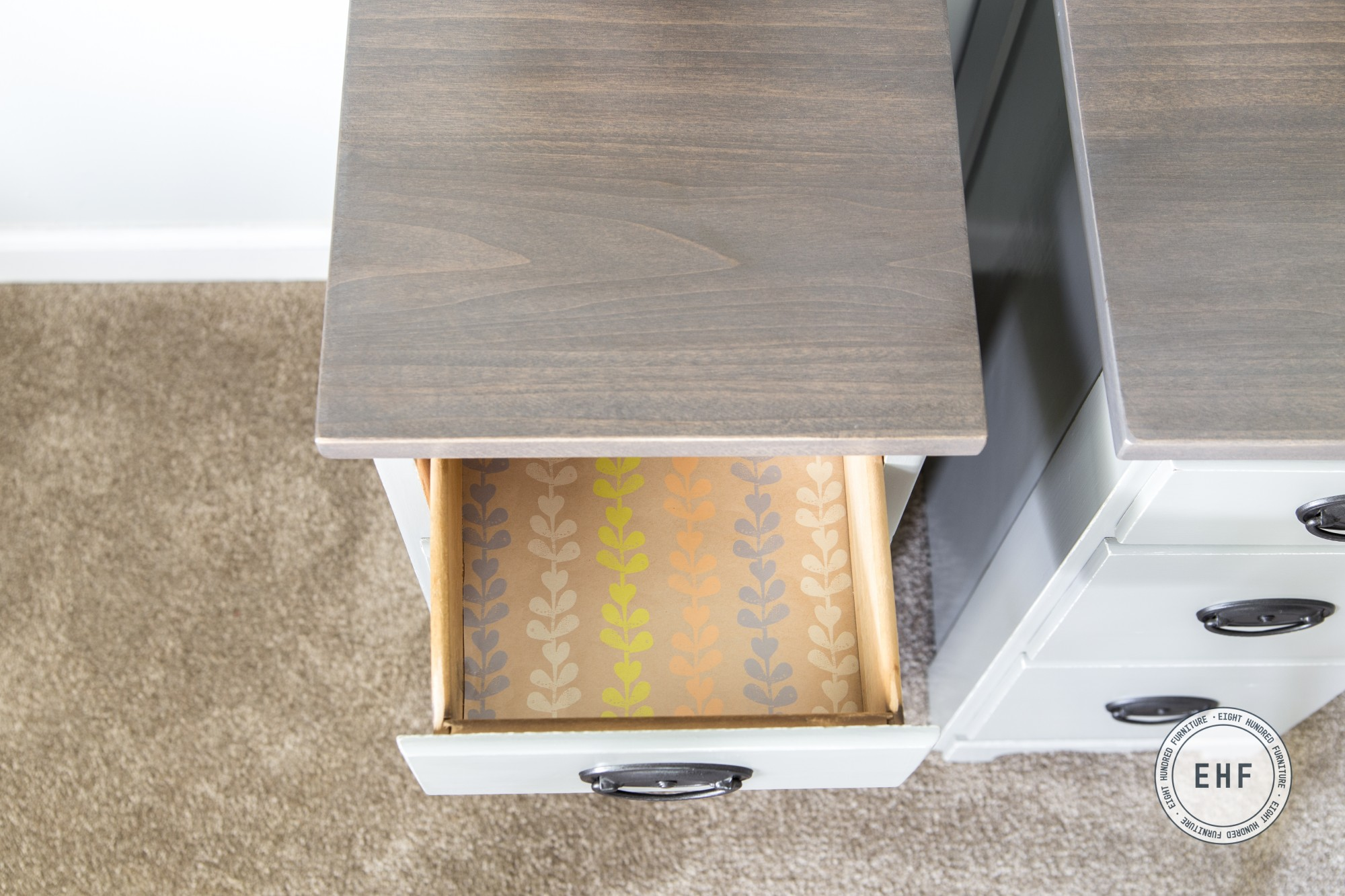 Lined drawer inside of nightstands painted in Empire Gray Milk Paint, stained with Ash Gray Gel Stain and Van Dyke Brown Glaze Effects by General Finishes, Eight Hundred Furniture