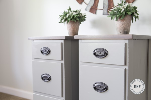 Side view of Empire Gray Nightstands
