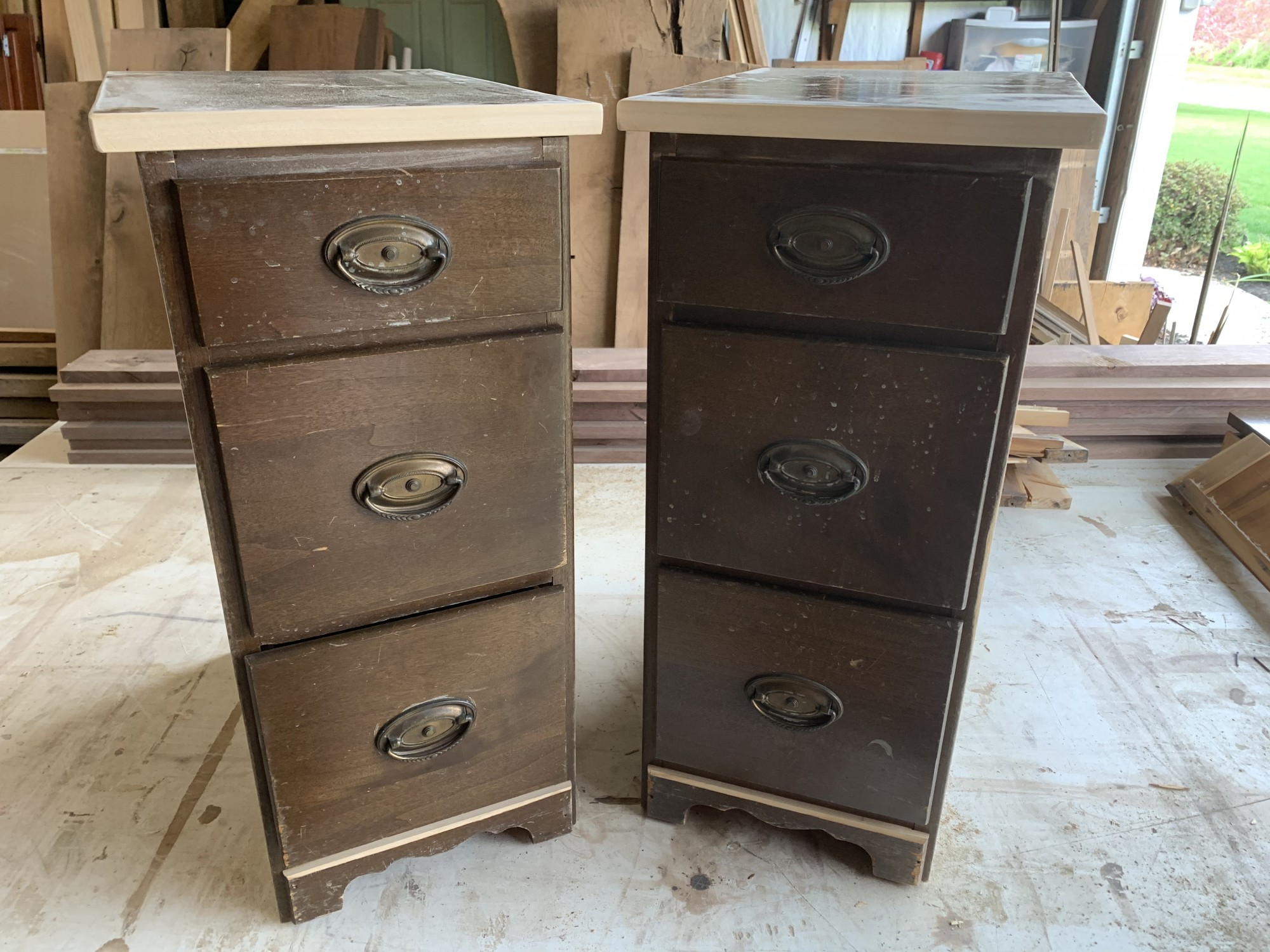 Nightstands from the sides of an old kneehole desk