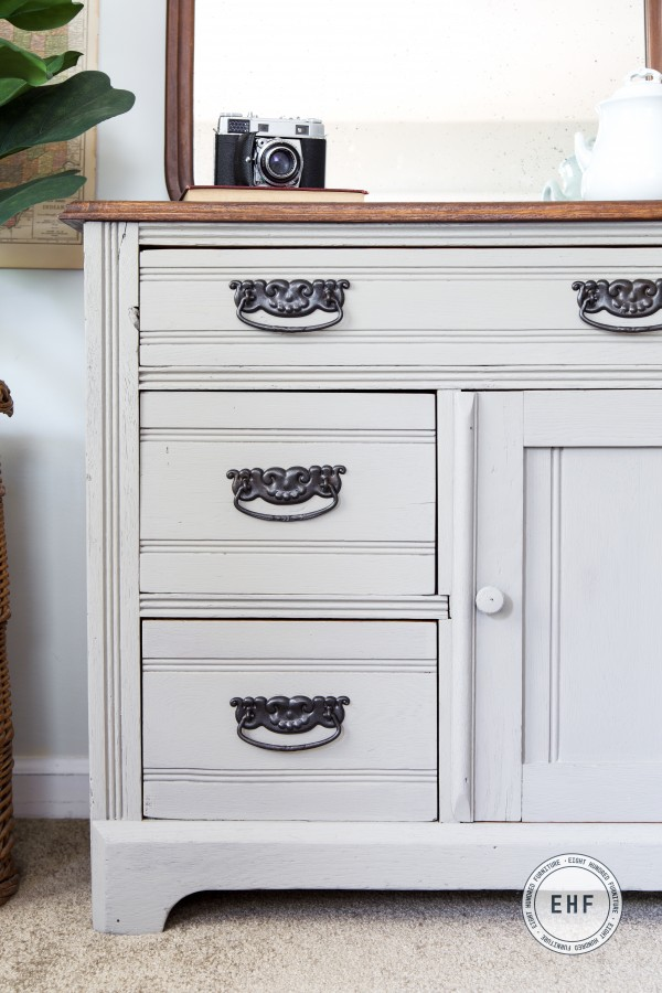 Drawers on Victorian Eastlake washstand in Schloss by Miss Mustard Seed's Milk Paint