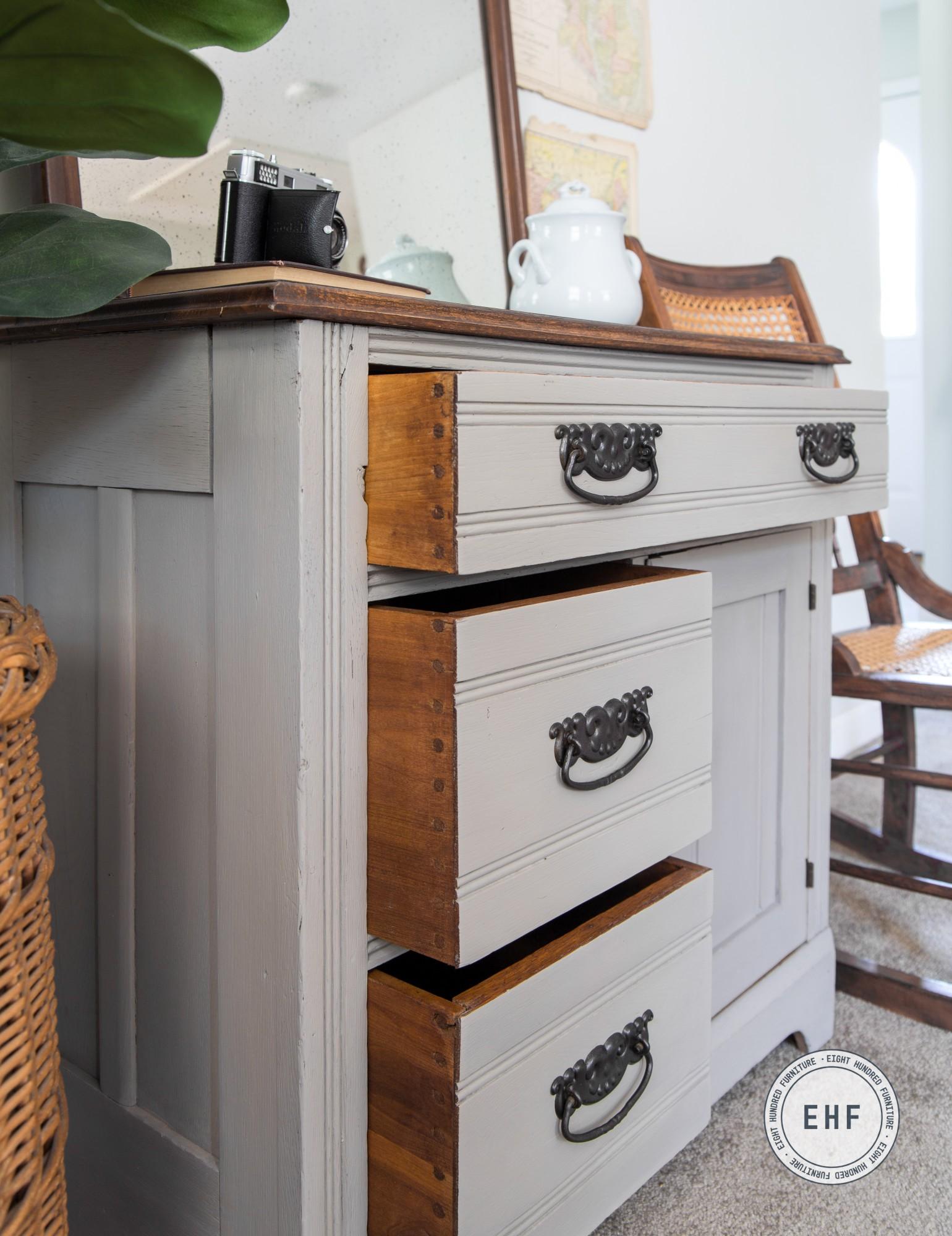 Dowel joinery on Eastlake oak washstand in Schloss by MMS Milk Paint