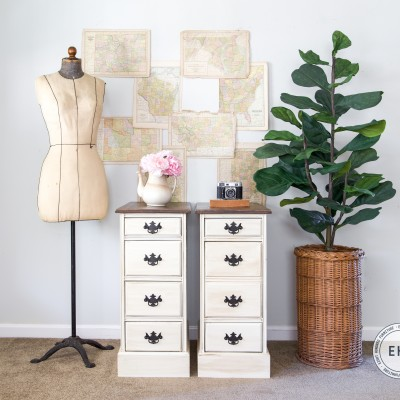 Nightstands painted in Brushable White Enamel tinted to Antique White, Van Dyke Brown Glaze Effects, General Finishes, Satin, High Performance Topcoat, Eight Hundred Furniture, Antique Walnut