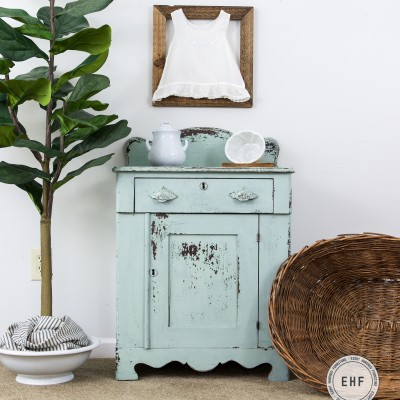 A Chippy Milk Painted Victorian Washstand